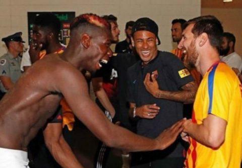 Bỏ qua thất bại, Paul Pogba cười đùa bên Neymar và Messi