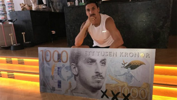 Ibrahimovic bất ngờ xuất hiên trên đồng tiền Thụy Điển