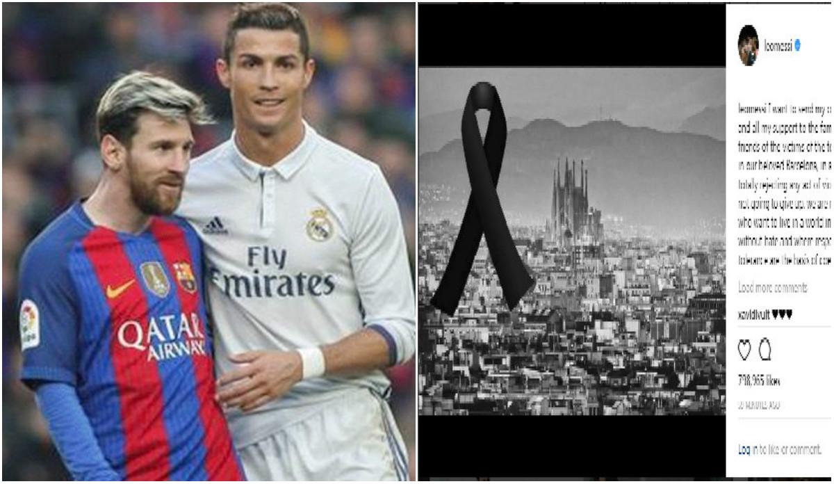 Ronaldo và Messi gửi thông điệp chia buồn với nạn nhân vụ khủng bố ở Barcelona