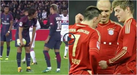 Thay vì căng thẳng như Cavani, Neymar; hãy cùng xem cách Toni Kroos và Ribery giải quyết tranh chấp đá phạt