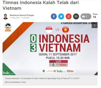 Báo Indonesia sốc nặng khi đội nhà thua thảm trước U18 Việt Nam