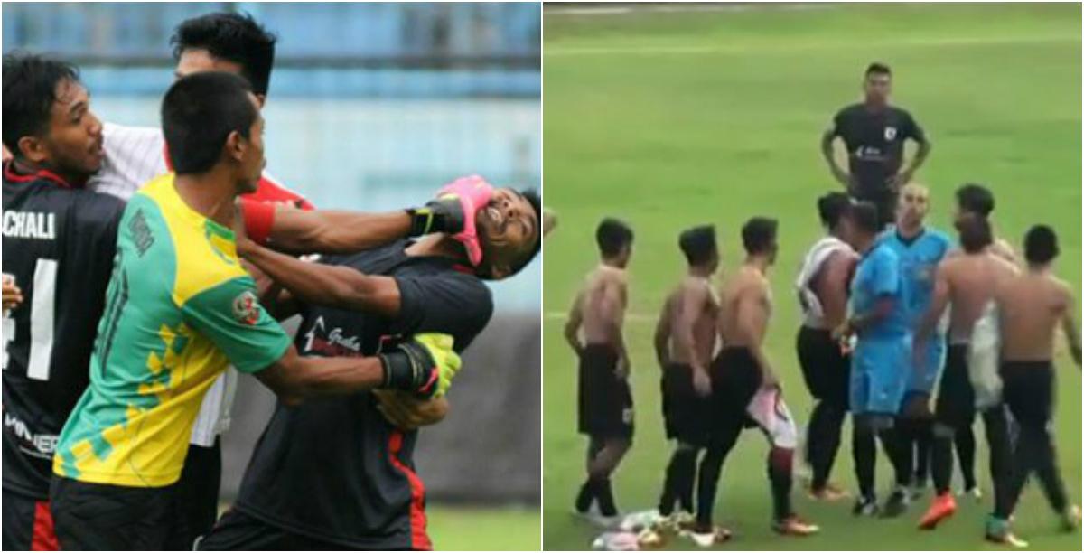"""Hỗn chiến kinh hoàng ở giải Indonesia: Cầu thủ dàn trận cởi áo đòi """"xử"""" cả trọng tài"""
