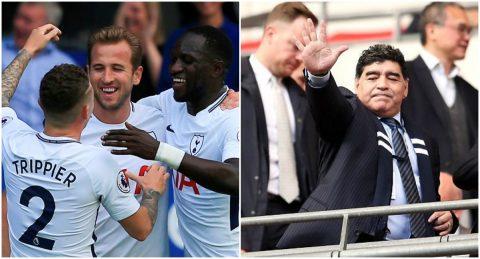 """CHÙM ẢNH: """"Cậu bé vàng"""" Maradona dự khán Wembley chứng kiến Spurs nghiền nát Liverpool, phá tan kỷ lục của M.U"""