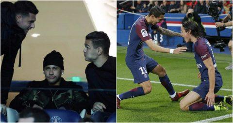 """CHÙM ẢNH: Neymar ngồi trên khán đài, bần thần nhìn Cavani """"nổ súng"""" liên tục cho PSG"""