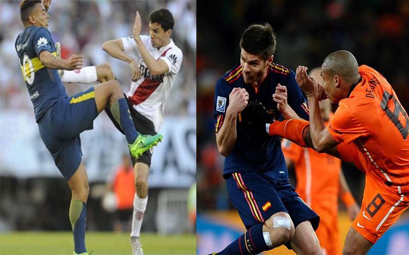 """Sao Nam Mỹ tái hiện cú """"kung-fu kick"""" của """"gã đồ tể"""" Nigel De Jong trong trận derby Arghentina"""