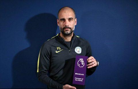 Lần thứ 3 liên tiếp Pep Guardiola giành danh hiệu HLV xuất sắc nhất tháng: Vượt mặt Mourinho, cân bằng kỷ lục với Conte