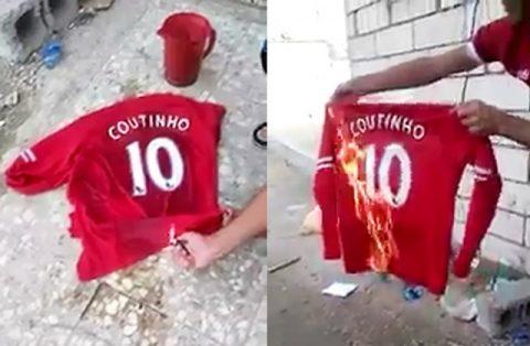 CLIP: Fan Liverpool tức giận đốt áo, gọi Coutinho là kẻ phản bội