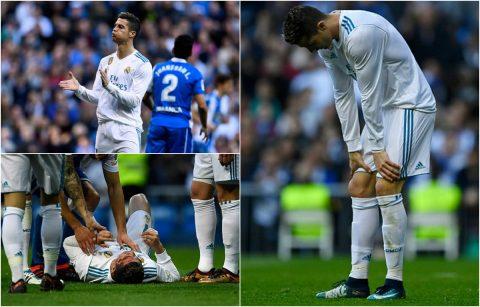 """CHÙM ẢNH: Ronaldo đánh đổi chiến thắng bằng việc """"ăn nguyên cả gầm giày vào mặt"""" khiến fan xót xa"""