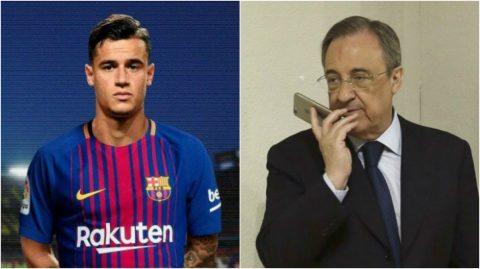 """NÓNG: """"Bố già"""" Perez tung chiêu độc: Nẫng Coutinho 150 triệu euro trước mũi Barca"""