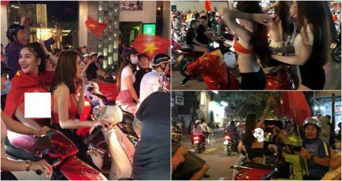 """SỐC với màn ăn mừng """"hở bạo"""" của fan nữ sau khi U23 Việt Nam lập chiến tích lịch sử"""