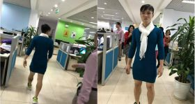 Việt Nam nói là làm, thanh niên mặc váy đi làm vì thua cá cược trận đấu U23 VN – Qatar