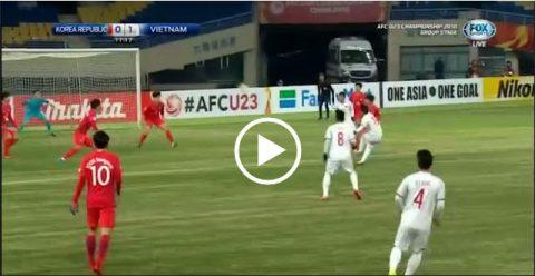 CẬN CẢNH tuyệt phẩm cháy lưới U23 Hàn Quốc của Quang Hải