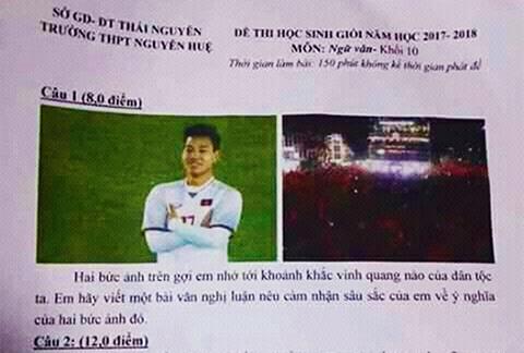 Phấn khích với những đề thi, bài kiểm tra xuất hiện hình ảnh của U23 Việt Nam