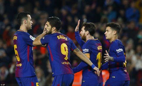 Suarez lập hat-trick, Messi ghi cú đúp, Coutinho vẽ siêu phẩm, Barca chơi tennis trên sân nhà