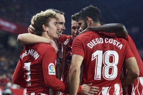 """Costa khai màn, Griezmann lập hat-trick, Atletico nghiền nát đối thủ vừa """"hành"""" M.U tại Cúp C1"""