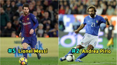 Top 10 cầu thủ có lối chơi thông minh nhất thế giới thập niên qua: Messi, Pirlo chưa phải số 1