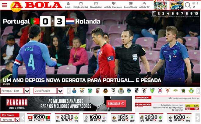 Bồ Đào Nha thua thảm: Báo chí thất vọng Ronaldo, lo bị loại sớm tại World Cup
