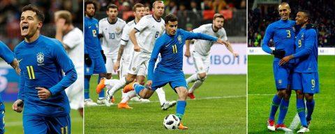 """Đá với nửa phần công lực, Brazil vẫn dễ dàng """"vùi dập"""" chủ nhà World Cup 2018 với một kịch bản khó tin"""