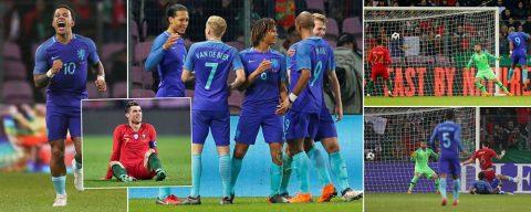 """Depay """"đè mặt"""" Ronaldo, Hà Lan vùi dập thê thảm Bồ Đào Nha bằng tỉ số khó tin"""