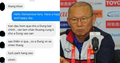 Sôi máu với loạt tin nhắn xúc phạm HLV Park Hang Seo của fan cuồng vì không cho Tiến Dũng vào sân