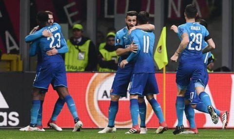 Diệt gọn AC Milan ngay tại thánh địa San Siro, Arsenal coi như đặt một chân vào vòng Tứ kết Europa League