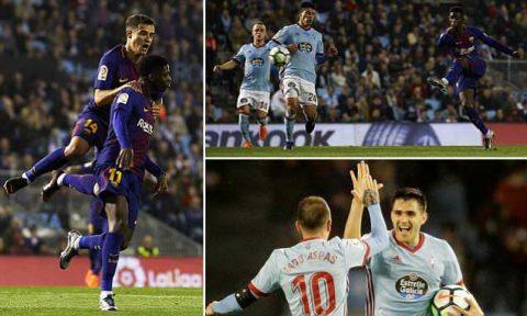 """Kết quả Celta Vigo vs Barcelona: """"Bom tấn"""" lập công, 4 bàn rượt đuổi"""