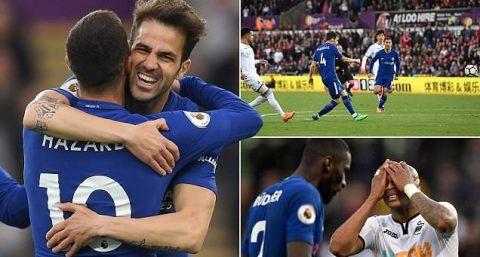 Fabregas vẽ siêu phẩm, Chelsea nhọc nhằn hạ Swansea, tiếp tục bám sát top 4