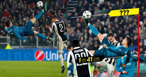 """Choáng toàn tập với độ cao mà Ronaldo bật nhảy để thực hiện tuyệt phẩm """"xe đạp chổng ngược"""" vào lưới Juventus"""
