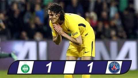 Cavani bỏ lỡ không tưởng, PSG bị St.Etienne cầm hòa