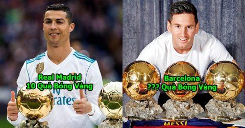 TOP 5 đội bóng sở hữu nhiều Quả Bóng Vàng nhất thế giới: Tỷ số giữa Real – Barca sắp cân bằng