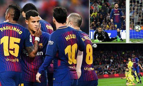 Messi tiếp tục lập siêu phẩm, Barcelona vùi dập kinh hoàng Villarreal