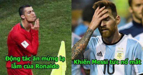 """Từ bỏ điệu nhảy ăn mừng đã thành thương hiệu, Ronaldo nhân cơ hội """"chọc tức"""" Messi bằng màn vuốt cằm độc nhất trong lịch sử"""