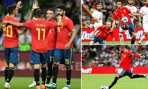 """Kết quả Tunisia – Tây Ban Nha: """"Siêu dự bị"""" chói sáng, vỡ òa cuối trận"""