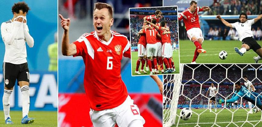 """Đồng đội thi nhau """"mơ ngủ"""", Salah ngậm ngùi nhìn Ai Cập bị Nga giày xéo không thương tiếc, chuẩn bị xách vali về nước"""