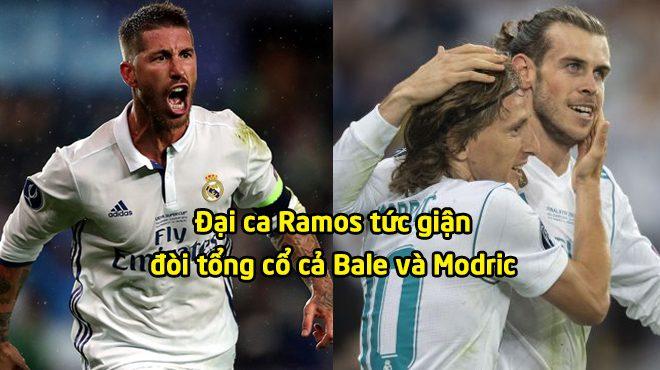 """Real thảm họa: Đại ca Ramos họp khẩn """"ông trùm"""" đuổi cặp đôi Modric – Bale"""