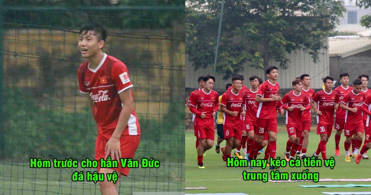 Chán thử nghiệm cho tiền đạo xuống đá hậu vệ, thầy Park lại điều tiền vệ trung tâm xuống thay vị trí Văn Thanh