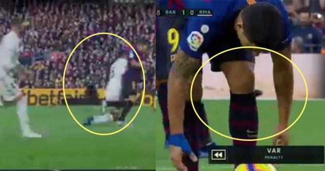 Cận cảnh pha penalty đầy tranh cãi mà trọng tài cho Barca hưởng, Real sắp chìm nghỉm đến nơi rồi