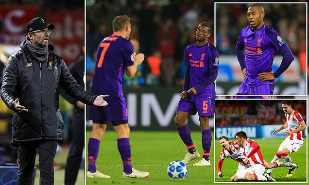 Thua S.Ố.C trước kẻ vô danh Sao Đỏ Belgrade , Liverpool nguy cơ bị loại sớm tại Champions League
