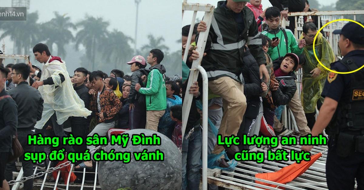 Cập Nhật: Tình hình các CĐV chen nhau xô đổ hàng rào Sân Mỹ Đình để săn vé vào xem trận Việt Nam-Malaysia