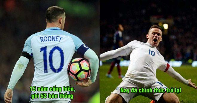 CHÍNH THỨC: 9 tháng sau khi tuyên bố từ giã ĐT Anh, Rooney tiếp tục trở lại khoác áo Tam sư