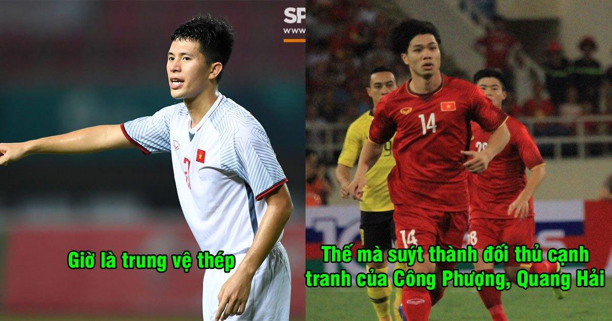 Là trung vệ thép của ĐTVN, nhưng ai ngờ Đình Trọng suýt trở thành đối thủ cạnh tranh vị trí chính thức với Quang Hải, Công Phượng