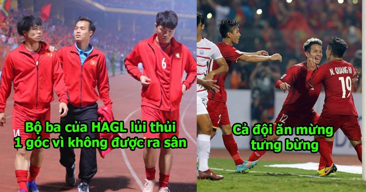 Hình ảnh đau lòng nhất hôm qua: 3 cầu thủ HAGL lủi thủi ra động viên nhau một mình, nhìn Văn Toàn mà thấy xót