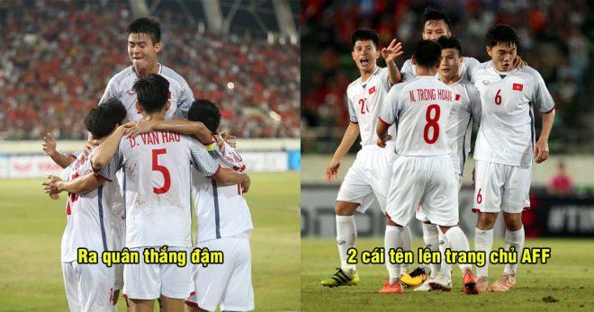 Chơi quá xuất sắc sau lượt trận đầu tiên, hai cầu thủ Việt Nam được trang chủ AFF vinh danh