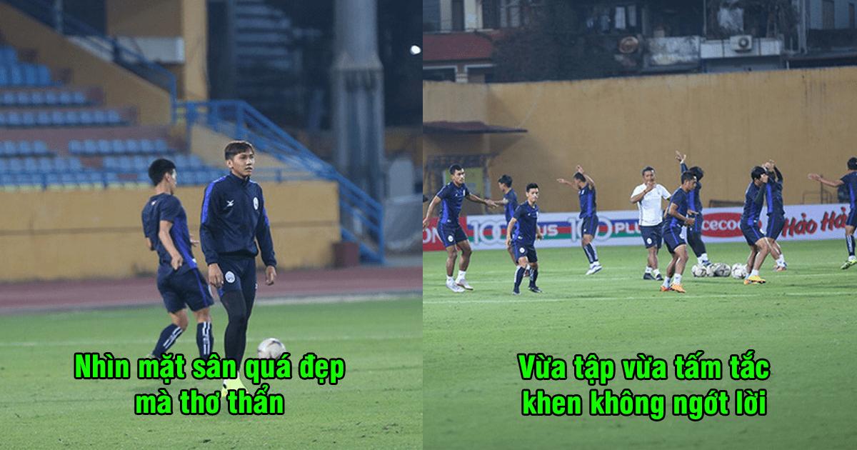 CHÙM ẢNH: Cầu thủ Campuchia không ngớt lời khen mặt cỏ Hàng Đẫy, đẹp hơn Mỹ Đình gấp trăm lần