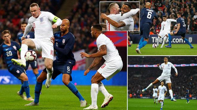 """Kết quả Anh vs Mỹ: Siêu phẩm từ sao MU tri ân """"huyền thoại"""" Rooney tái xuất"""