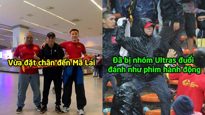 QUÁ PHẪN NỘ: Vừa đặt chân đến đất Malaysia để cổ vũ cho đội nhà, CĐV Việt Nam đã bị nhóm Ultras đuổi đá.nh