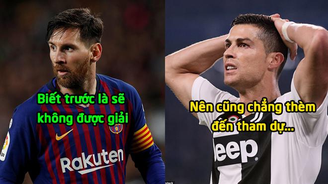 """""""Cả Ronaldo và Messi đều không tham dự lễ trao giải; đó là sỉ nhục QBV, không tôn trọng đối thủ"""""""