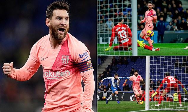 """Kết quả Espanyol vs Barcelona: Messi rực rỡ """"nổ"""" cú đúp siêu phẩm; mở màn đại tiệc Derby Catalan"""