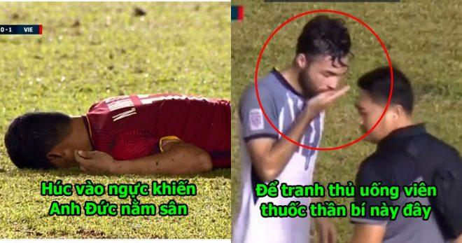Lợi dụng Anh Đức nằm sân, cầu thủ Philippines tranh thủ uống viên thuốc bí ẩn này thảo nào mà chặt chém sung thế