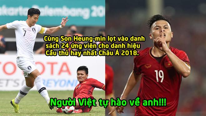 Thi đấu xuất sắc: Quang Hải tranh giải thưởng Cầu thủ hay nhất châu Á 2018 cùng Son Heung-min
